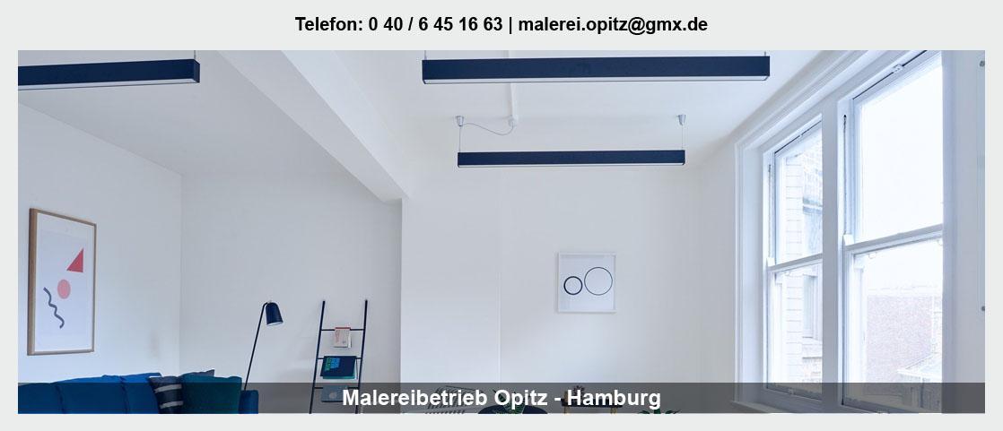 Malerbetrieb für Ellerbek - Malereibetrieb Opitz: Maler- und Tapezierarbeiten, Wasser- und Brandschäden