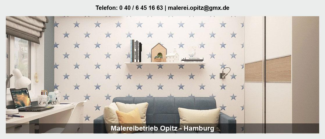 Malerbetrieb für Hamburg - Malereibetrieb Opitz: Maler- und Tapezierarbeiten, Wandbeschichtungen
